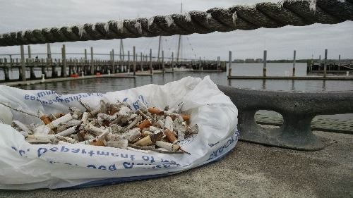 Pile of cigarette butts next to Charleston Harbor