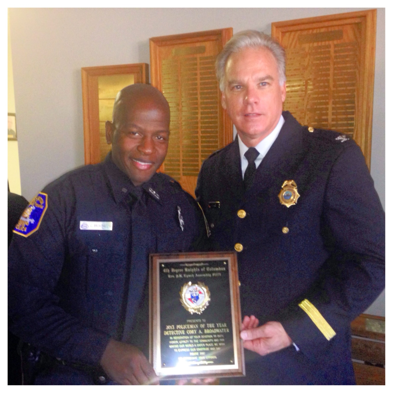 2013 Knights of Columbus Officer of the Year - Detective Broadwater